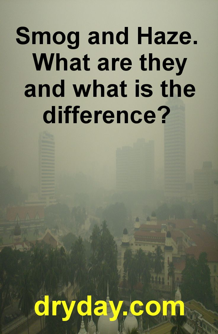 The basics of Smog and Haze. Read more at: https://www.dryday.com/blog/smog-and-haze-what-are-they-and-what-is-the-difference/