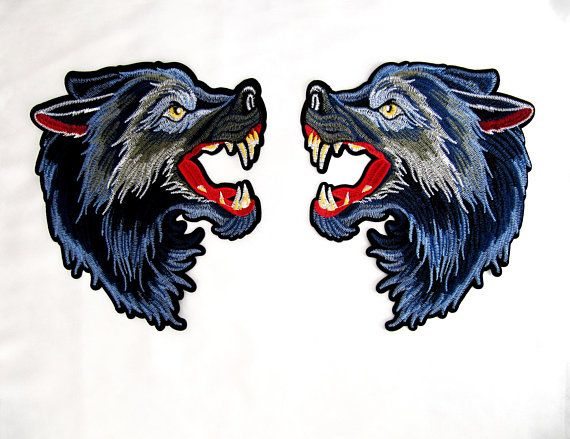 826dbc5c929ca Iron On HUGE Mirror Wolf Patch,Blue Wolf Applique,Animal Patch ...
