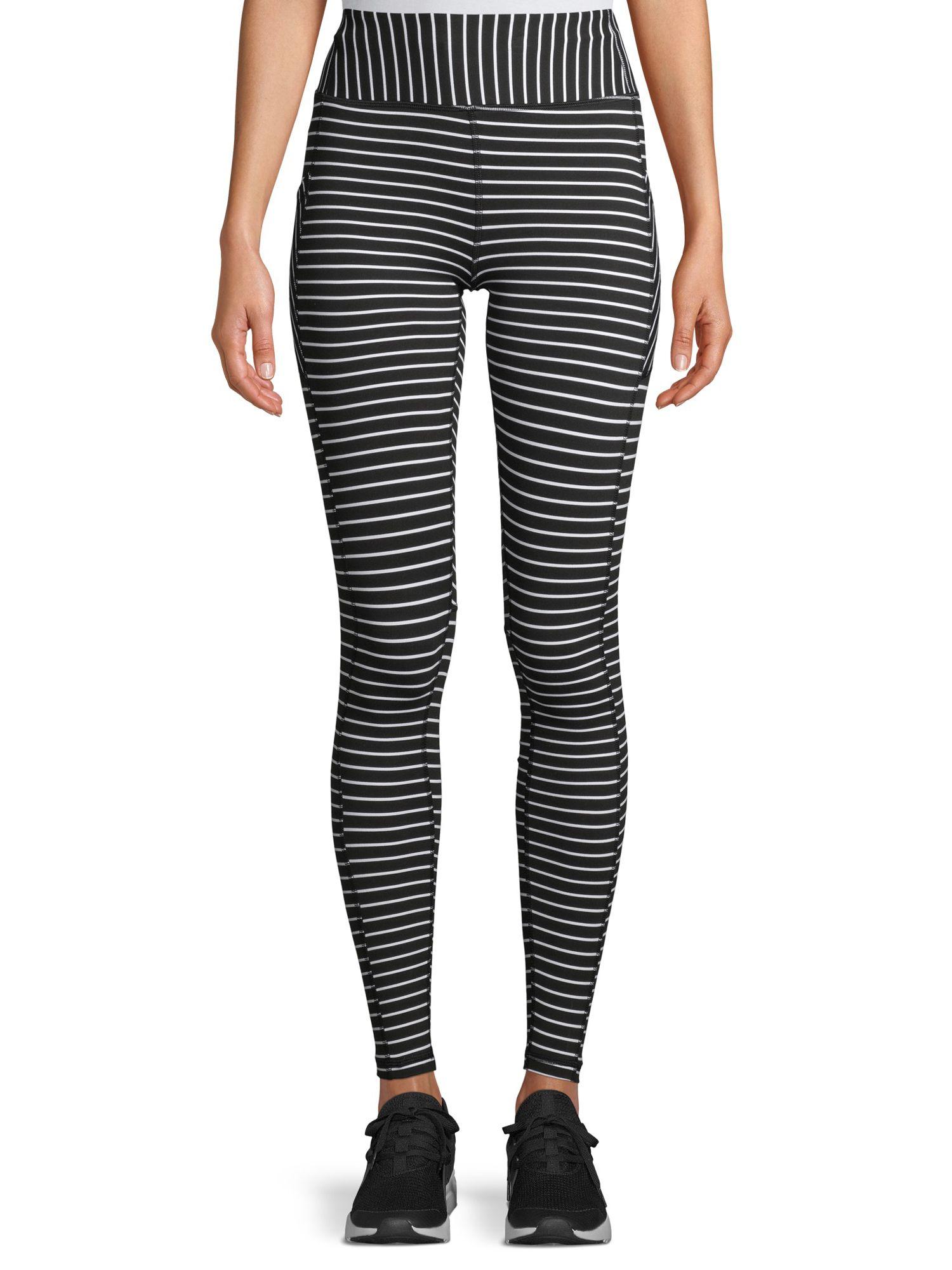 Avia - Avia Women's Active Performance Black and White Stripe Leggings - Walmart.com #stripedleggings