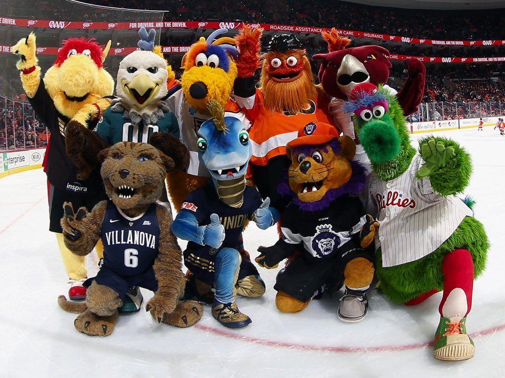 Wingston Swoop Melvin Gritty And St Joseph University Hawk Wil D Cat Villanova Phang Slapshot And Phantic Mascot Squad Philadelphia Phillies