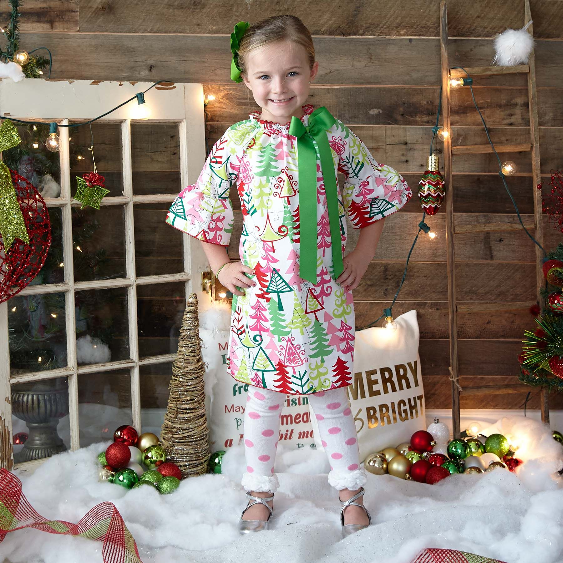 Christmas Tree Charlotte dress only @ Lolly Wolly Doodle
