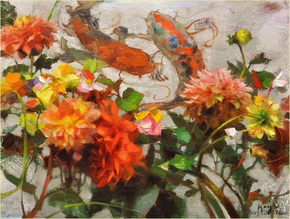 "Daniel Keys | ""Dahlias and Koi"" | Oil, 12 x 16"""