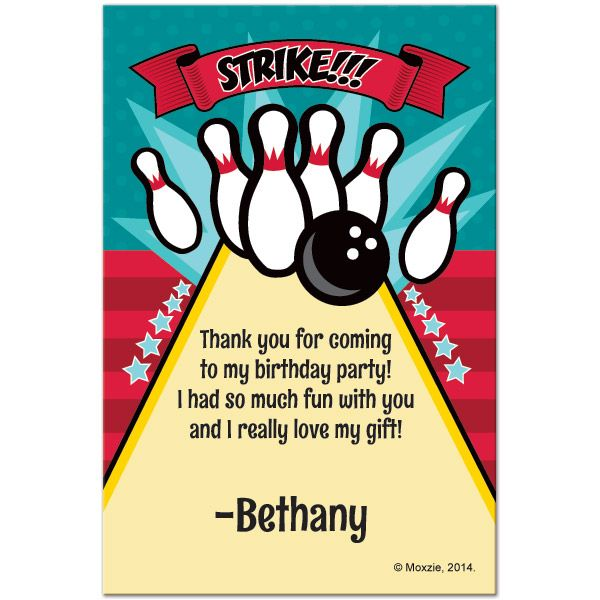Thank your guests personally with bowling customized thank you notes bowling personalized thank you notes at birthday direct stopboris Image collections