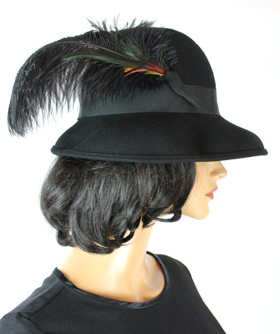 ON SALE Vintage Wool Hat 7 1 4 L 70s Black Felt Huge Ostrich Coque Feather  Ladies Fedora Free Us Shi 9f38a626324