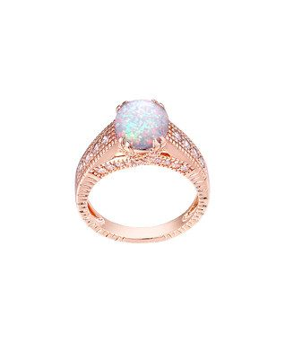 White Fire Opal & Rose Gold Cabochon Ring