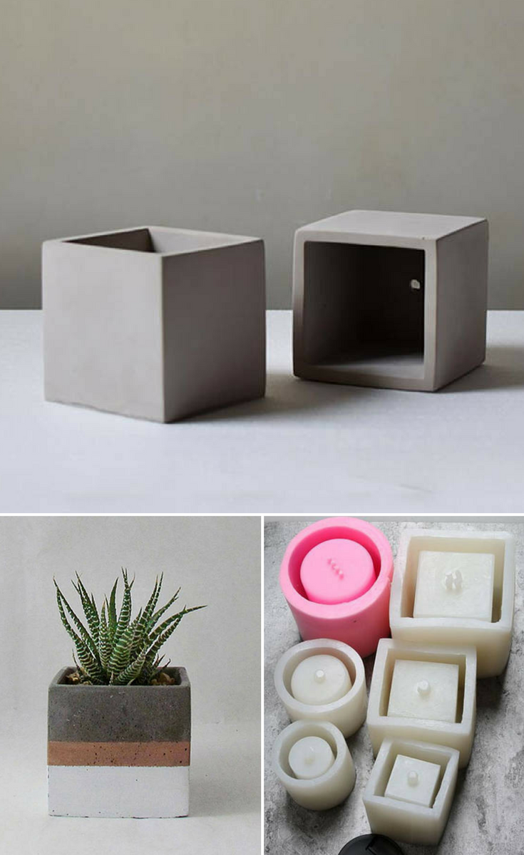 Cool Square Silicone Molds To Make Diy Concrete Planters I Really