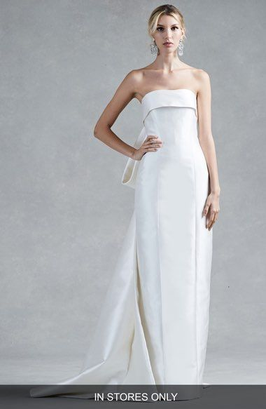 Oscar De La Renta Hunter Bow Back Silk Mikado Column Gown In Stores Only
