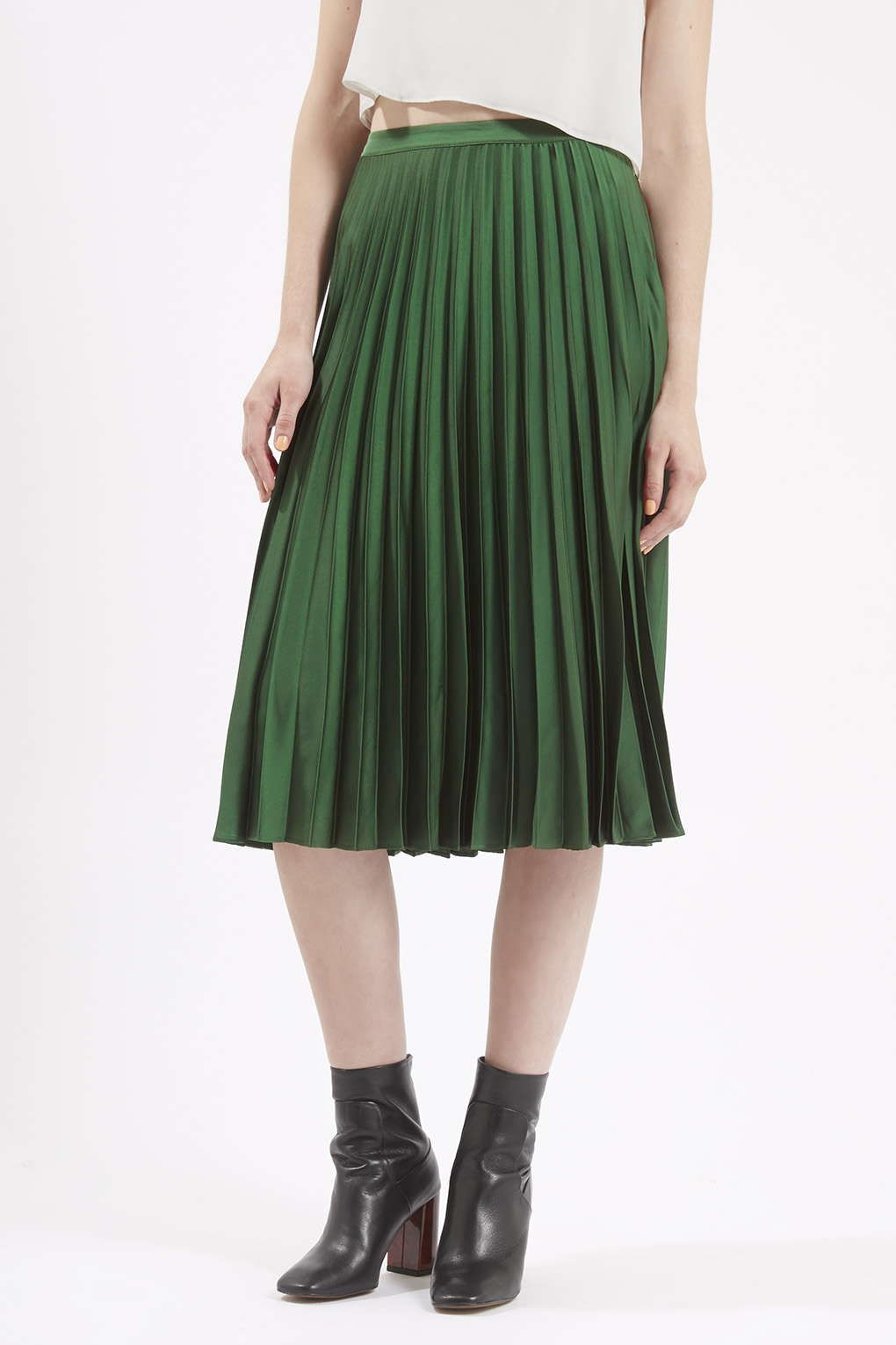Green Pleated Midi Skirt - Dress Ala