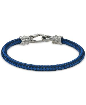 71a540a59f3c Esquire Men s Jewelry Blue and Black Woven Bracelet in Stainless Steel