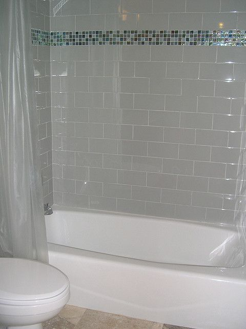 Subway tile with glass border Bathroom design small