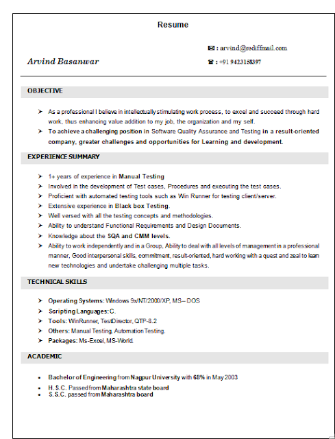 manual testing resume sample for 2 years experience  best