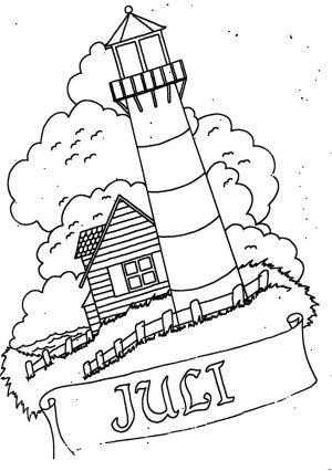 Juli Mit Leuchtturm Ausmalbild Malvorlage Monatsbilder Monatsbilder Ausmalbilder Leuchtturm