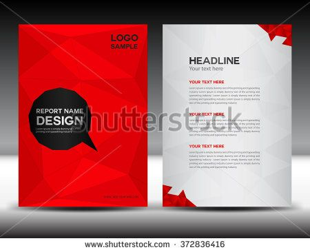 Red Cover Design Annual Report Template Brochure Flyer Polygon