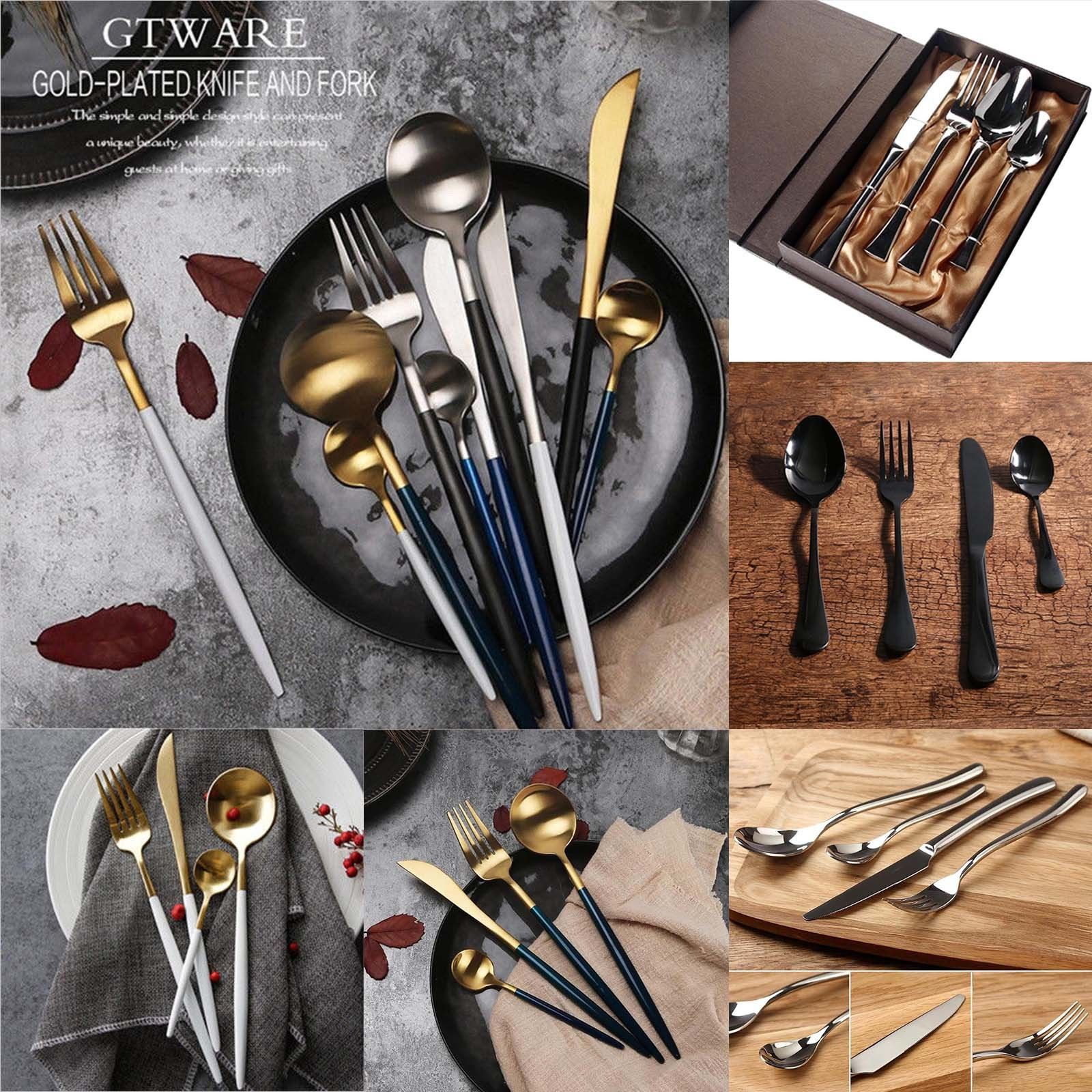0 99 GBP 4 Pcs Gold Plated Cutlery Set Dinnerware Steel Fork Spoon