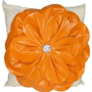 "Decorative 3D Floral PU Throw Pillow Cover 18"""