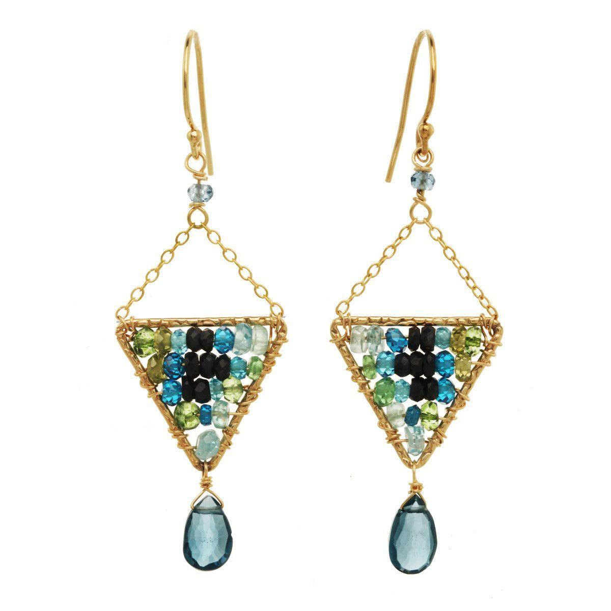 Labradorite and Blue Tourmaline Earrings 2911 by Michelle Pressler