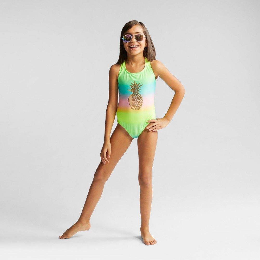 73517a94c9b Your bold girl will love sporting this Pineapple Vibe One-Piece Swimsuit  from Cat and Jack whether she's headed to a pool party building sandcastles  at the ...