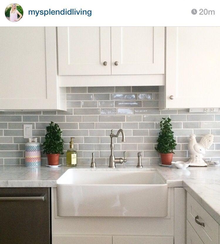 Different size subway tile backsplash kitchen renovation