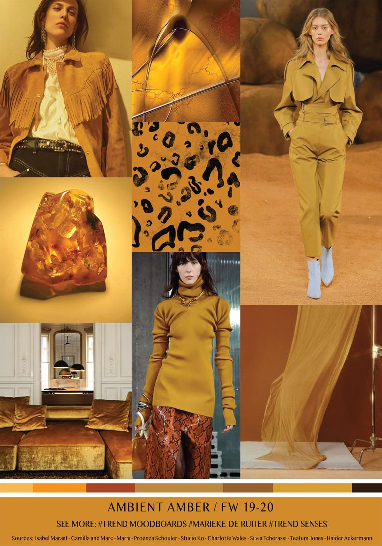 Current Fashion Trends 2020.Moodboard Ambient Amber Fall Winter 2019 2020 Fashion