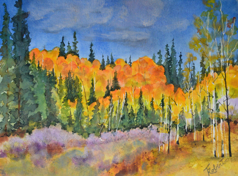 Fine Art Fall Aspen Tree Painting Watercolor Painting Original