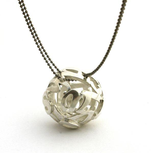 Lost words silver pendant