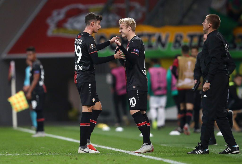 LEVERKUSEN, GERMANY - OCTOBER 04: Kai Havertz of Bayer 04 Leverkusen is substituted for Julian ...