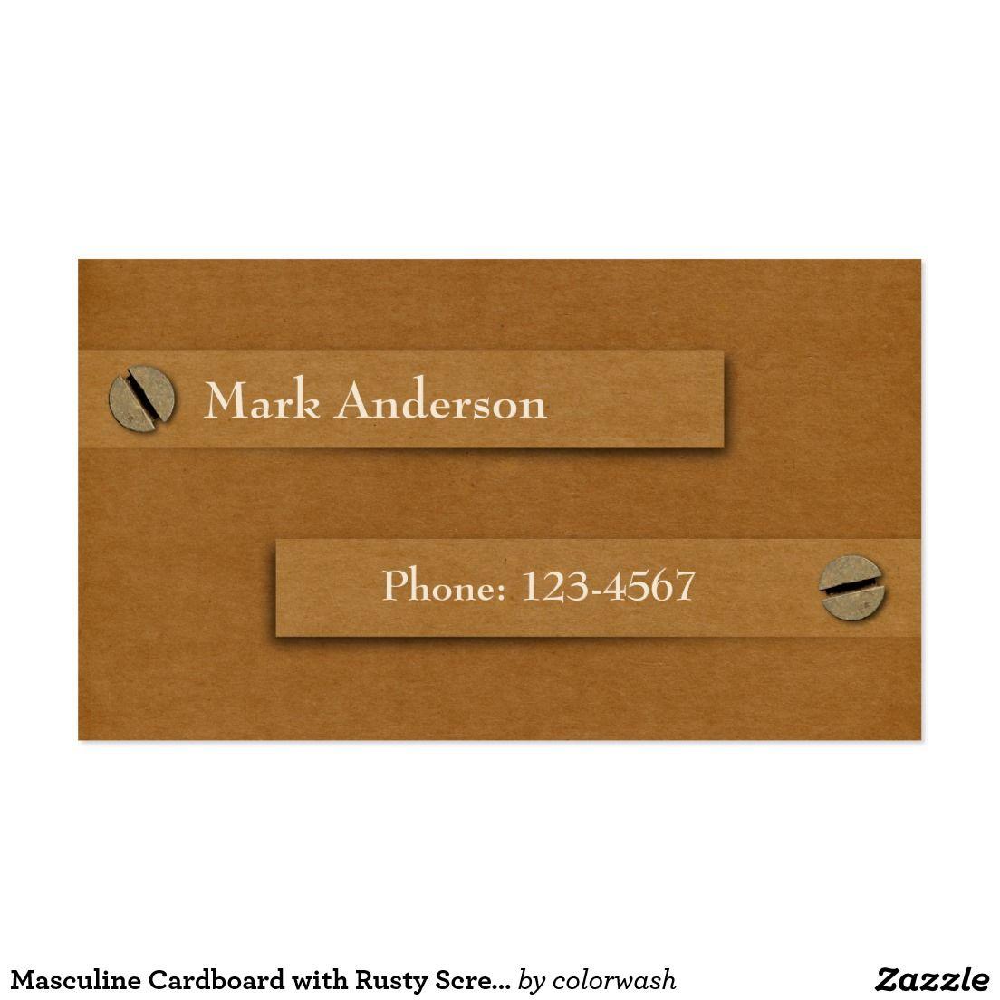 Masculine Cardboard with Rusty Screws Business Card