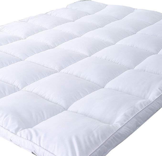 Naluka Mattress Topper Queen Size Down Alternative Overfilled White Pillow Top Mattress Cover Plush Hypoallergeni Mattress Topper Mattress Covers Mattress Pad