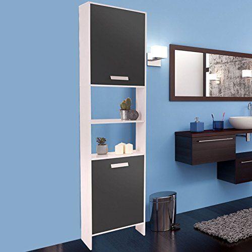 Meuble colonne salle de bain design en bois blanc portes grises
