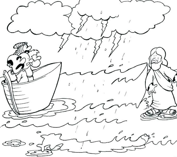 Jesus Walks On Water Coloring Page Walking To Print Colo
