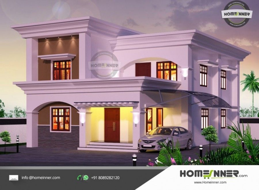 2182 Sq Ft 5 Bedroom Two Story Home Design House Front Design Kerala House Design Cool House Designs