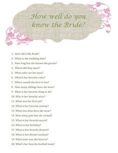 Bridal Shower Printable How Well Do You Know The Bride