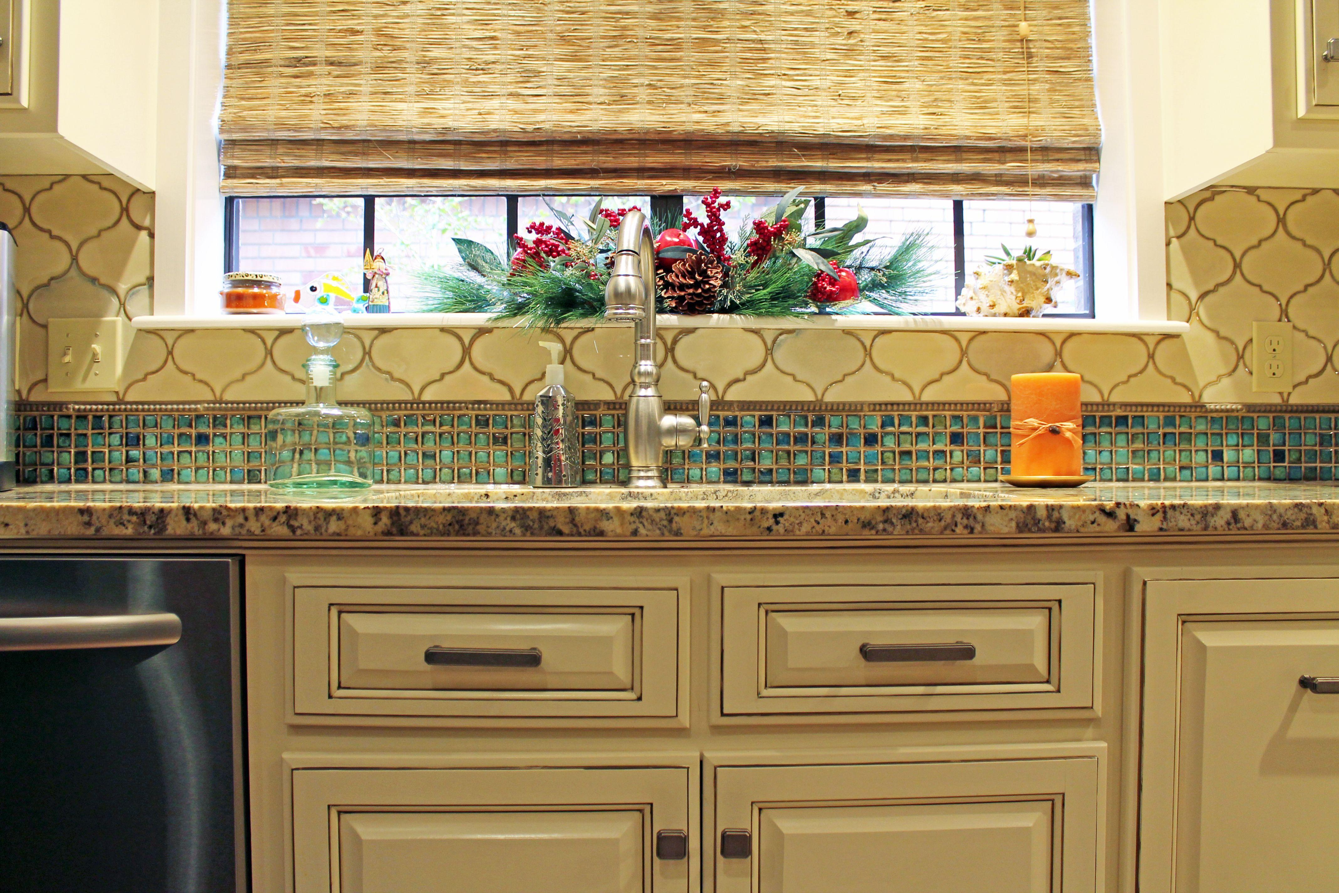 Arabesque And 1X1 Glass Mosaic Backsplash Tile White Cabinets