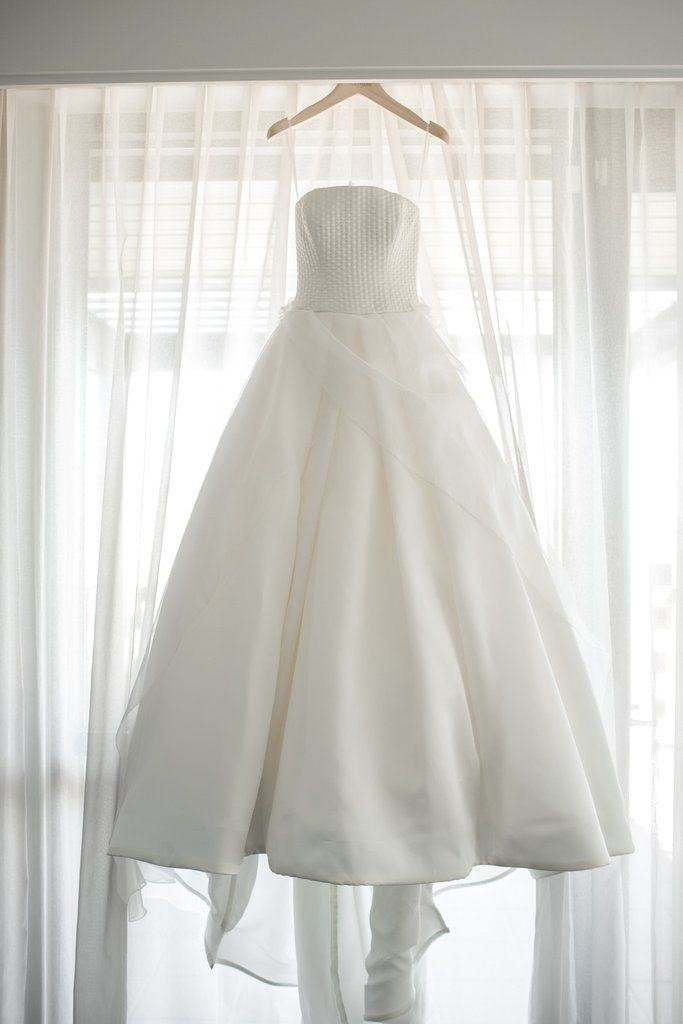 2d4043097ed Gorgeous ivory gown with hand-cut silk organza petal accents and  hand-draped