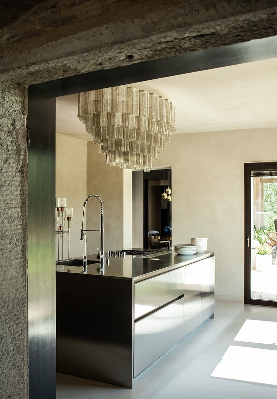 High Quality Industrial Kitchen With Extravagant Chandelier. The Industrial Look Is An  Interesting Contrast To The Old