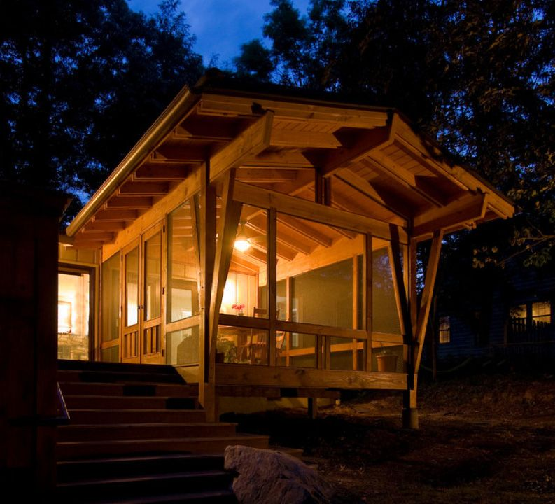 Creative Screened Porch Design Ideas: Exterior Timber Screened Porch At Night.