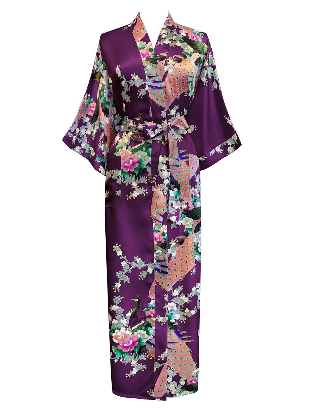 edf8d3dcbe3ae Old Shanghai Women s Kimono Long Robe - Peacock   Blossoms - Plum at Amazon  Women s Clothing store