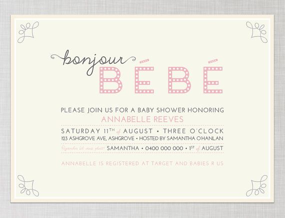 French baby shower invitation in pink bonjour bebe printable french baby shower invitation in pink bonjour bebe printable stopboris Images