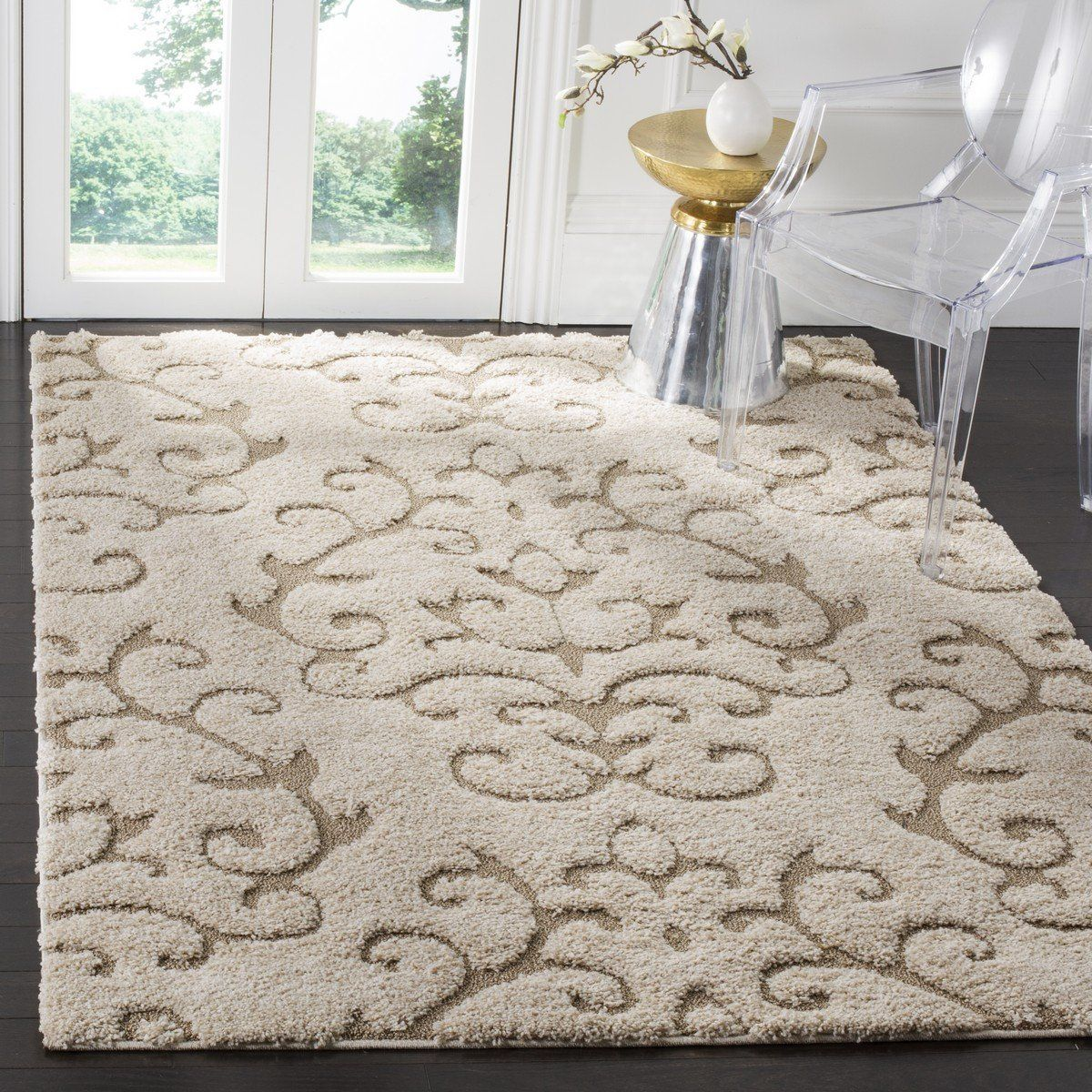 Safavieh Florida Shag Sg470 1113 Cream Beige Rug Area Rugs