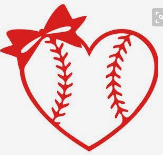 Baseball Softball Heart With Bow Yeti Decal Products
