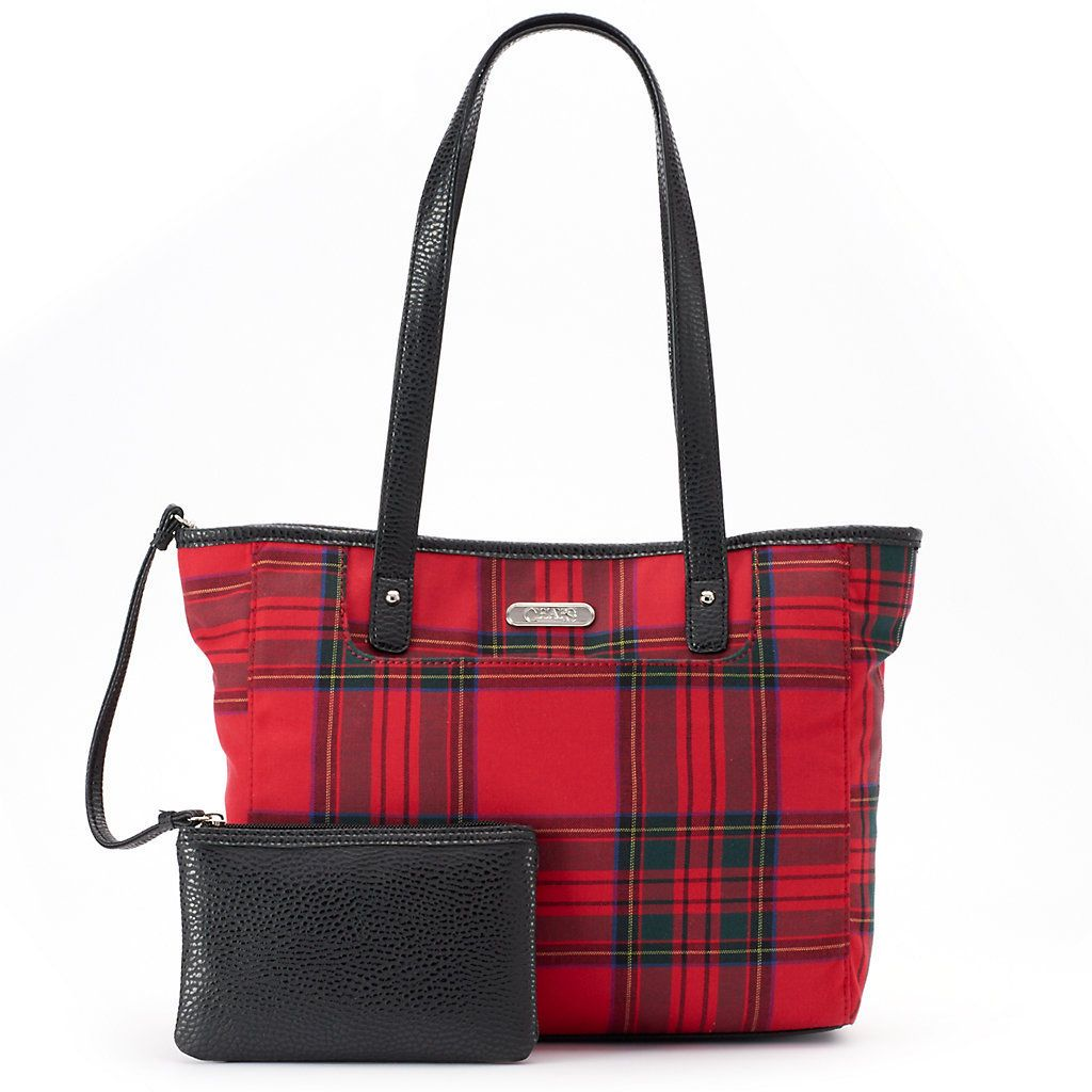 Chaps Plaid Coin Pouch & Tote