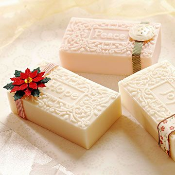 Festive-Wrapped Soap - what a clever way to make soap *pretty* - perfect for a hostess gift or favor, too!  :)