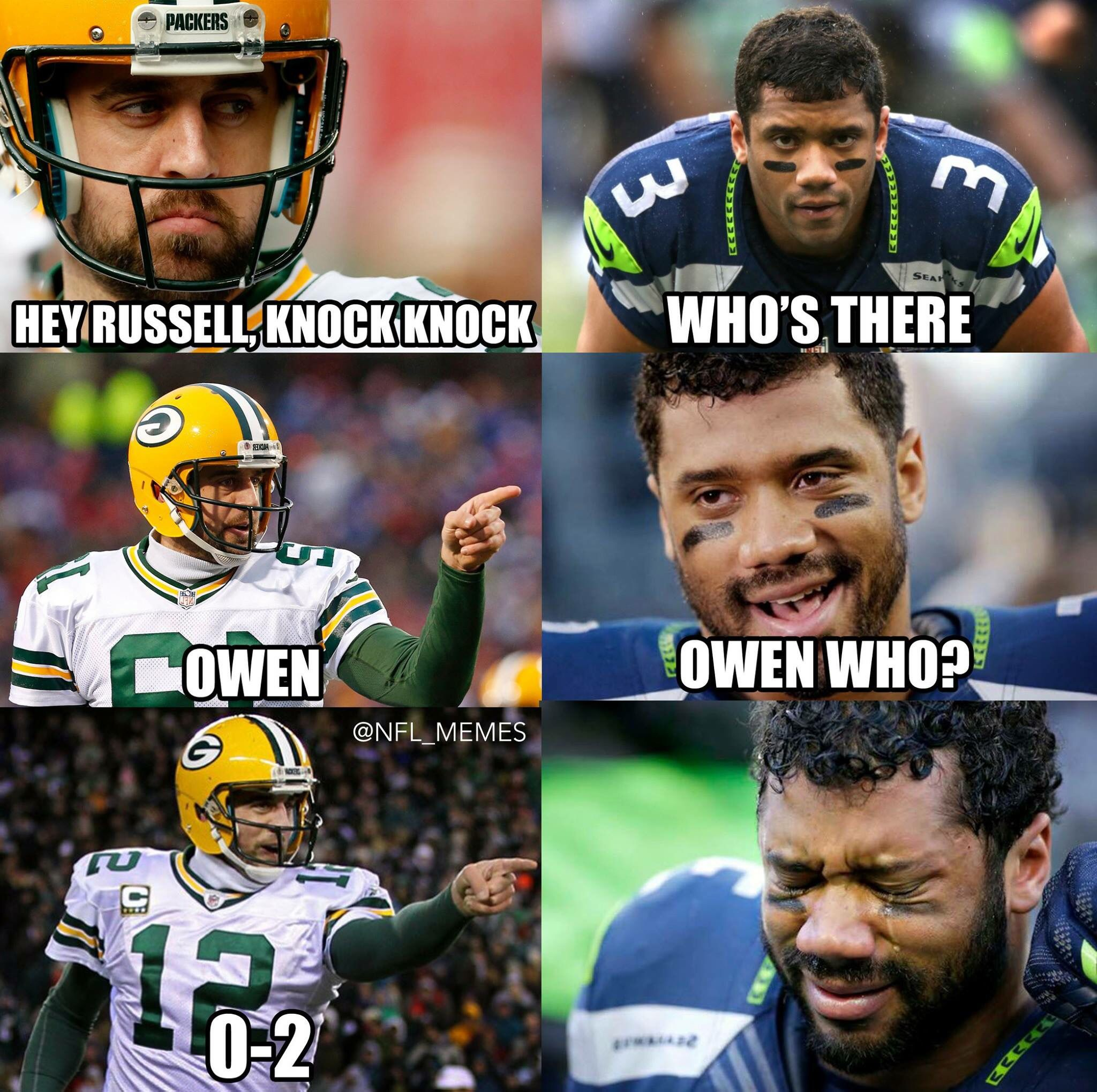 Russell Wilson And Aaron Rodgers Nfl Memes Funny Funny Football Memes Nfl Jokes