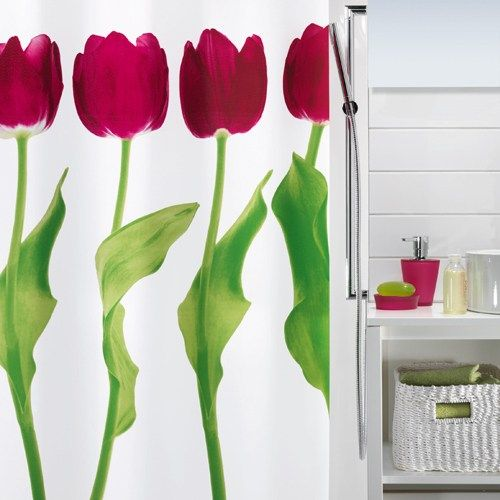 Duschdraperi Spirella Tulipa Dark Pink 180x200 Badrum Badrum