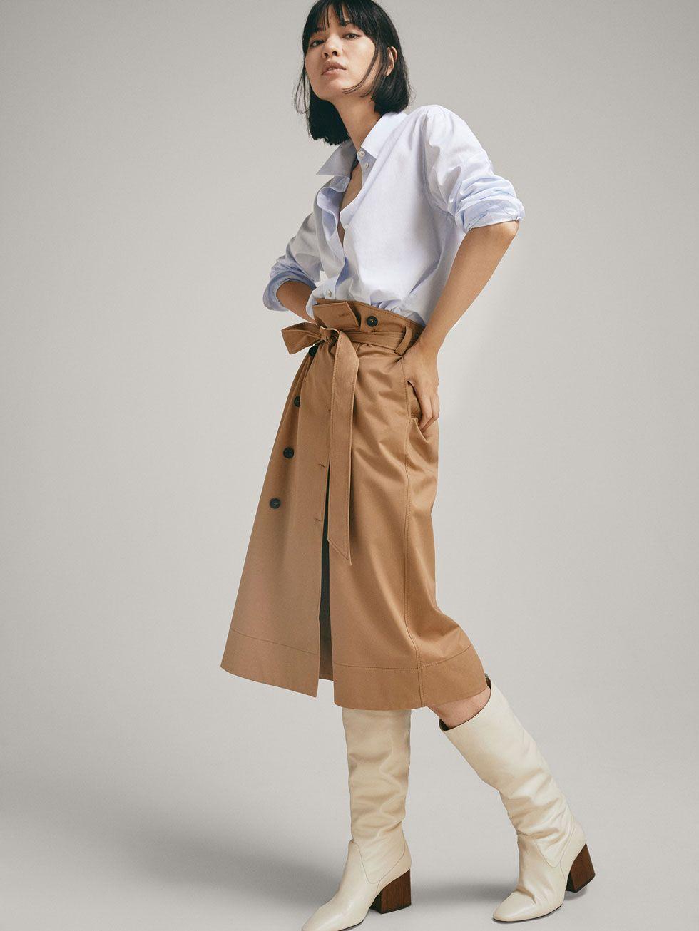 Saia Com Botao De Fixacao Duplo A Frente Mulher Massimo Dutti Womens Skirt Skirts Clothes