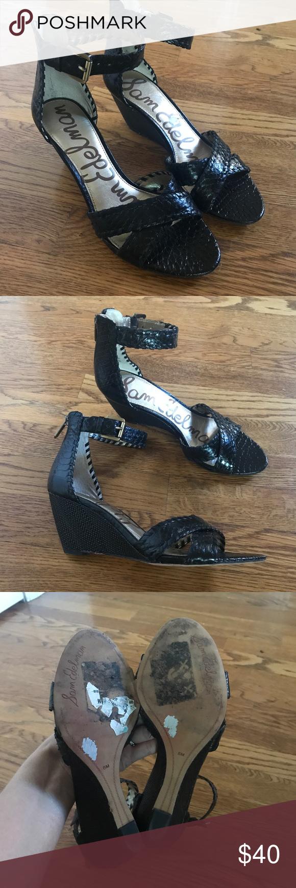 52c1502d869440 Sam Edelman Silvia wedge ankle strap heels size 8