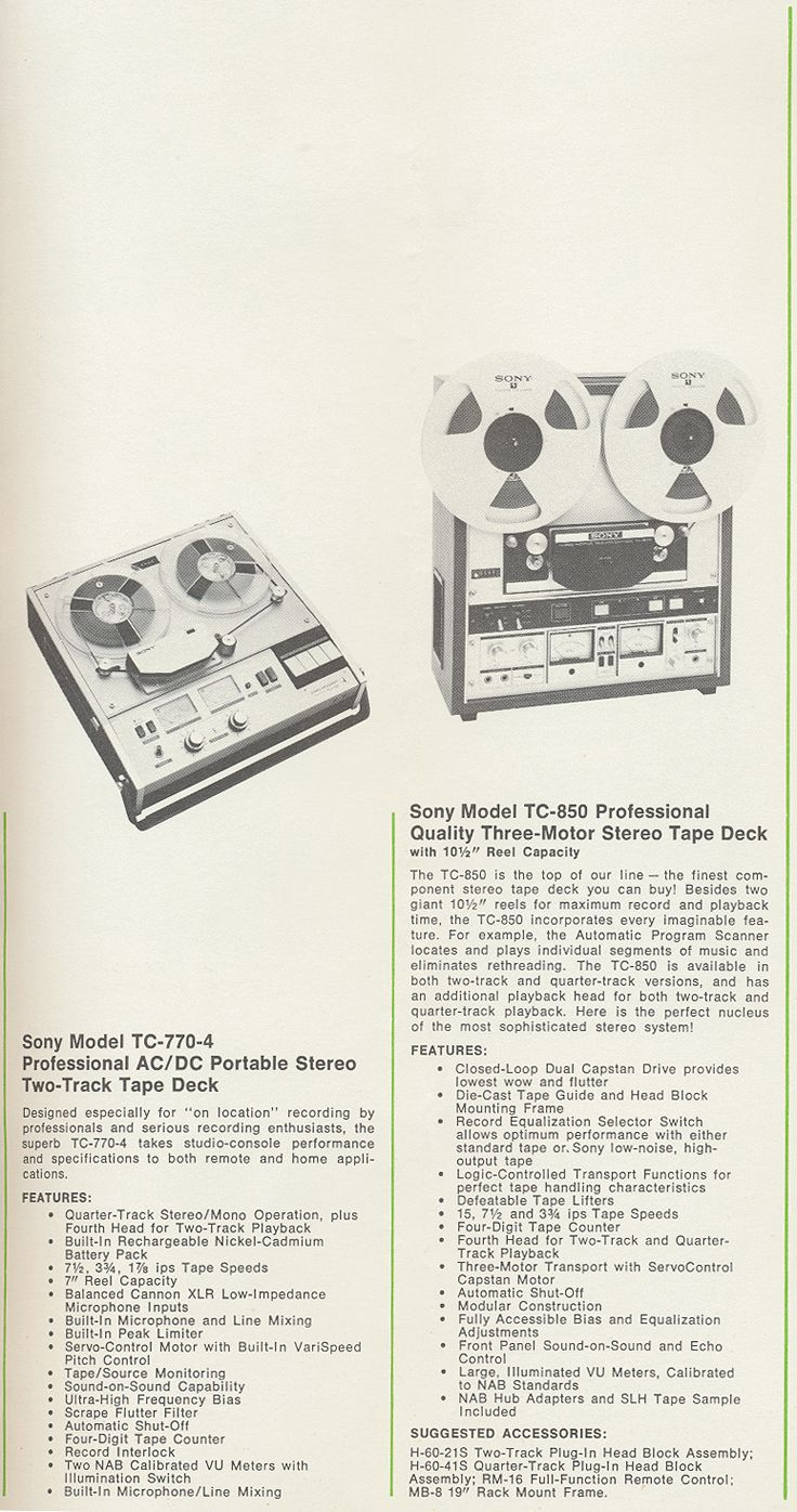Sony Tc 770 And Tc 850 In 1971 Sony Tape Recorder Catalog In