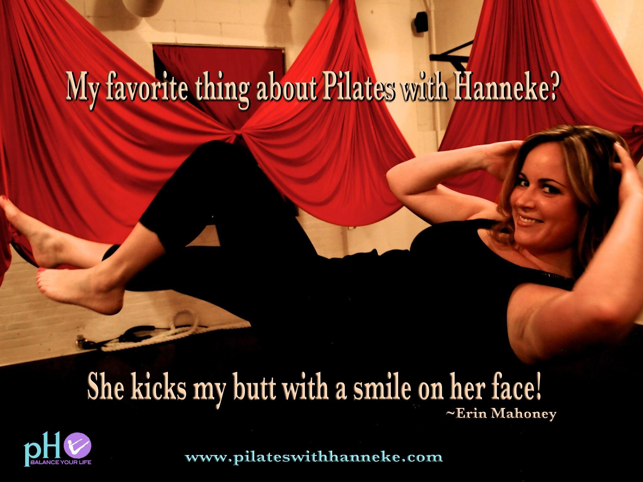 Enjoying your workout and having fun while sweating is important!  #pilates