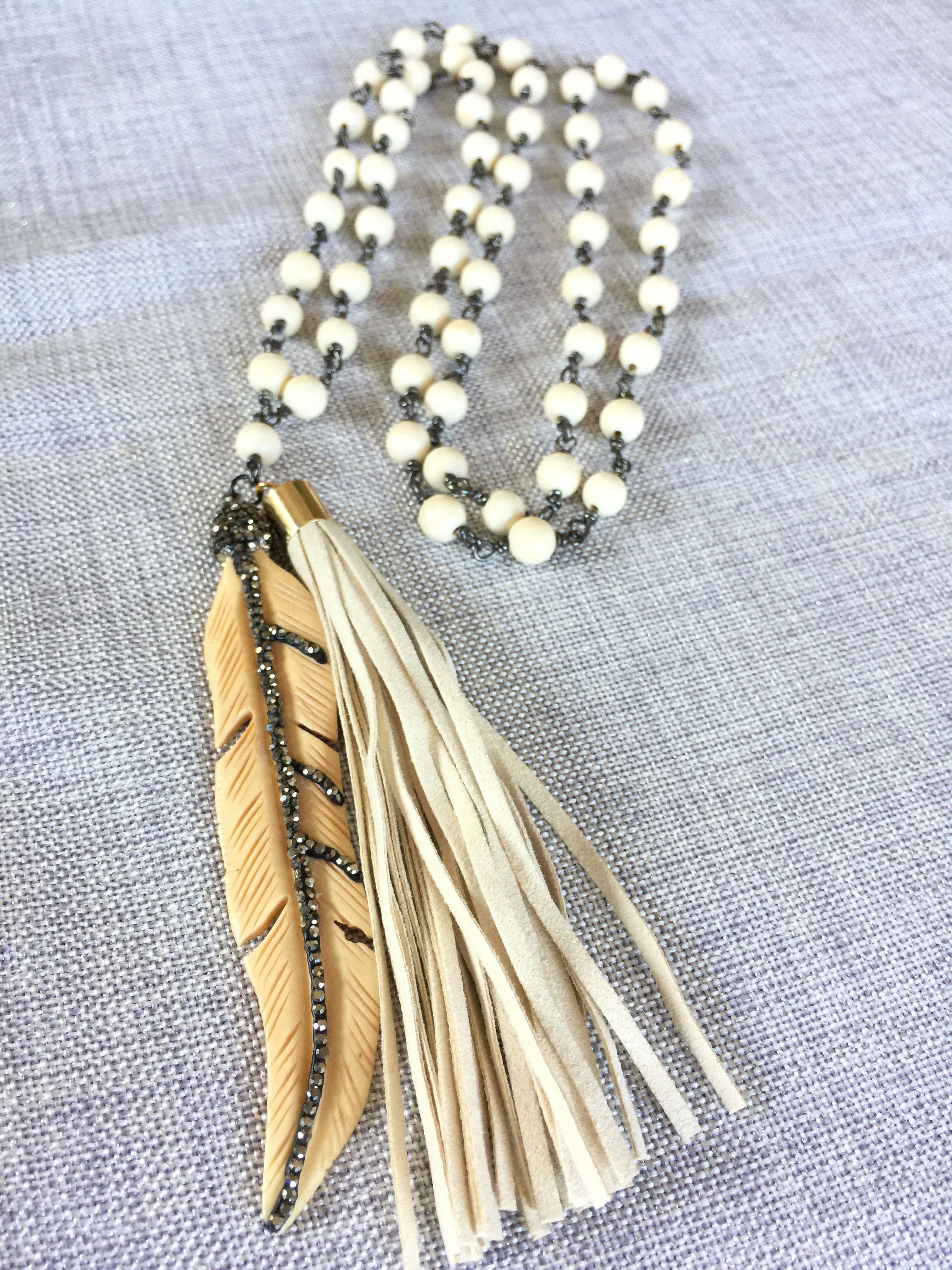 Natural Cream Bone Bead Pave Feather Leaf Tassel Necklace, Rustic Rosary Jewelry,Leather Tassel Rhinestone Pendent,Her Tribal Statement Gift #rosaryjewelry