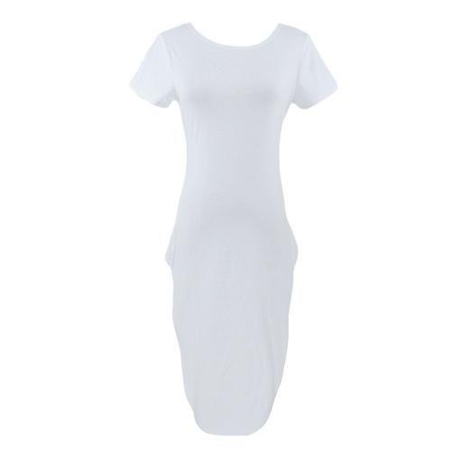 CHICUU - CHICUU Sexy Round Neck Short Sleeve Side High Split Irregular Hem Midi Dress - AdoreWe.com